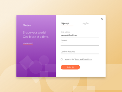 Sign Up  001 uipractice sign up login shapes daily ui 001 daily ui