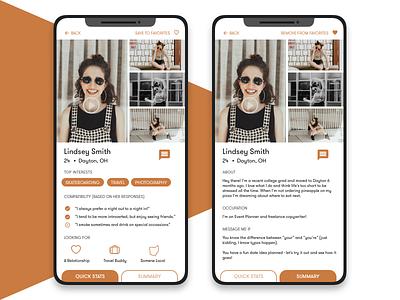 Profile  006 ui design profile dating app dating daily ui 006 daily ui
