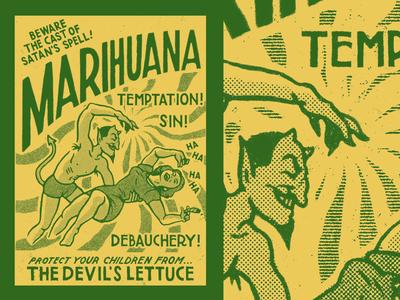 Devil's Lettuce procreate layout design typography retro hand lettering design vintage historic ephemera illustration