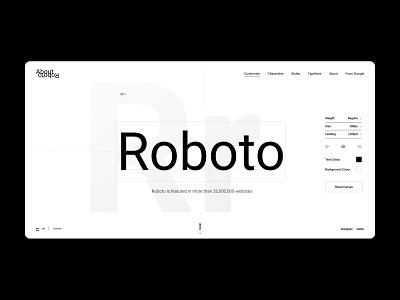 Roboto Font — Landing Page ux ui web typography web design webdesign website interface font design roboto landing page landing
