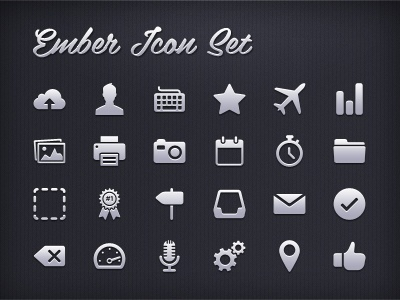Ember Icon Set icons icon set pictograms pictogram user icon upload plane icon chart thumbs up clean icon