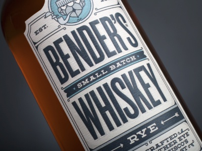 Bender's Rye Front Label whiskey rye benders label 7 eye california