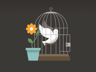 Human Rights Illustration bird cage flower illustration