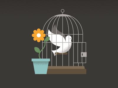 Human Rights Illustration bird cage flower illustration