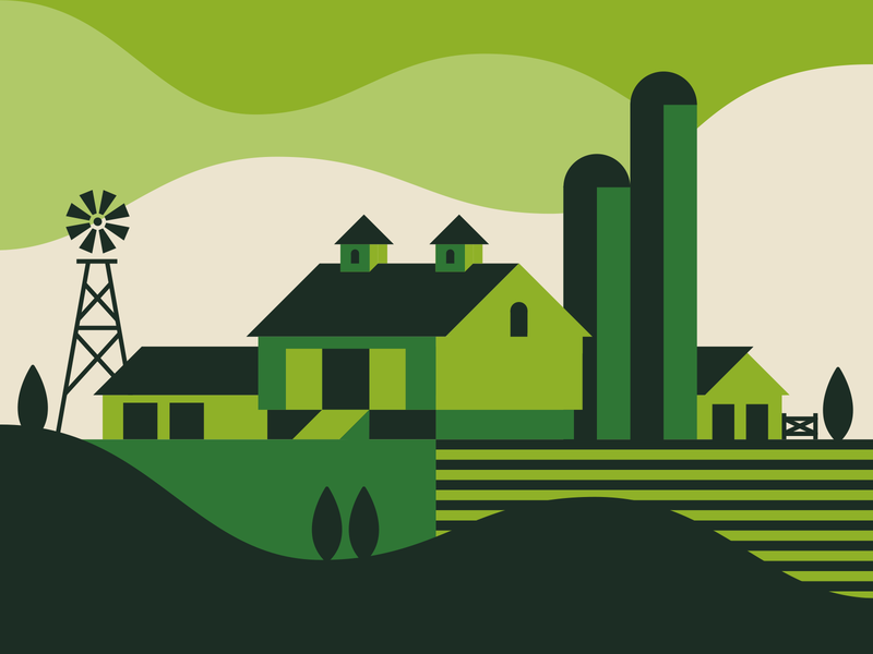 Iowa field silo farmhouse farm illustration iowa