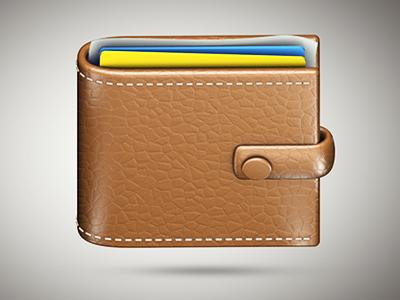Skeuomorphic wallet 3d app icon wallet money leather skeuomorphism texture stitches cinema4d
