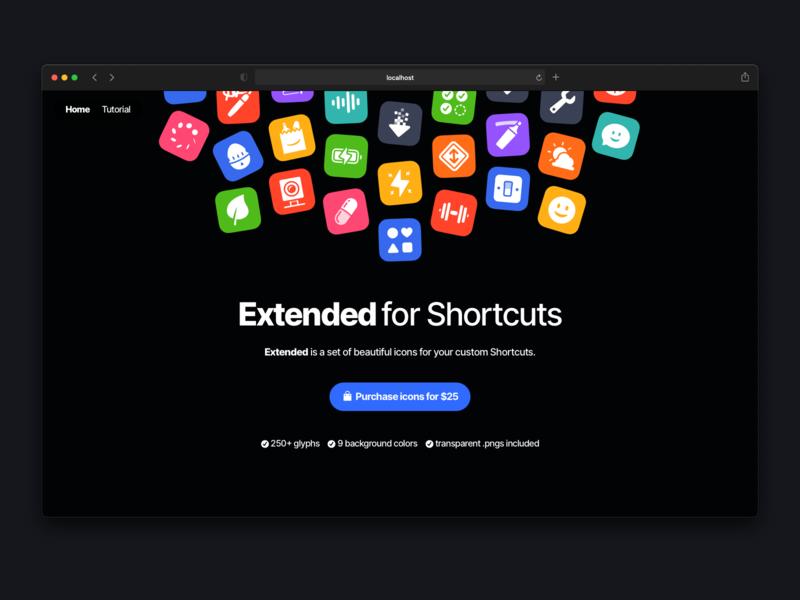 ExtendedIcons.com glyphs shortcuts ios design website