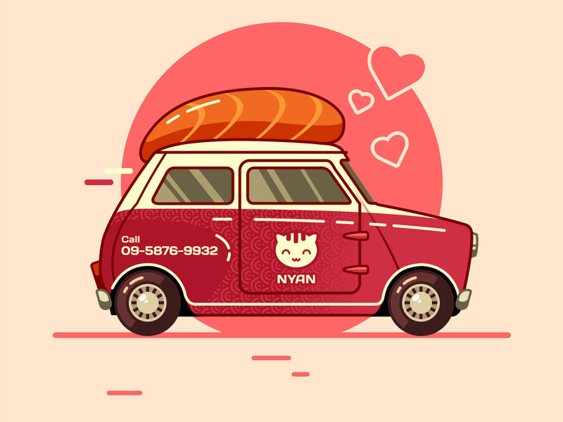 Sushimini delivery japan sushi racing illustration febrally design challenge vector flat car auto