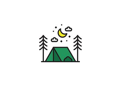 Camp Flat Icon Illustration flat design camping forest icons illustration graphicdesign design vector illustrator icon flat camp