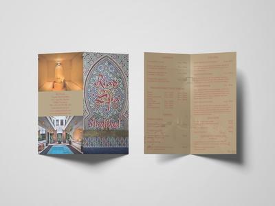 Bifold flyer riad spa sindibad graphic design print design bifold print flyer