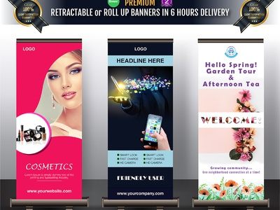 I'm creating Top class Print ready Trade show Roll up branding profesional corporate vector design illustration advertising flyer boothwall backdrop banner ads tradeshow pollup rollup print banner