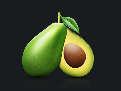 Product Icon (WIP) icon realistic illustration avocado green fresh food fruit