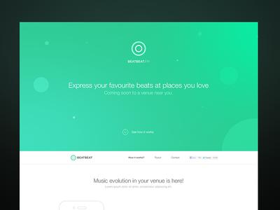 Landing page landing page music app startup frontend green ui flat wip