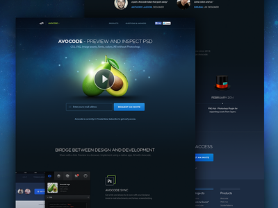 Avocode - Preview and inspect PSD css landingpage avocode landing page icon dark product homepage website startup webdesign