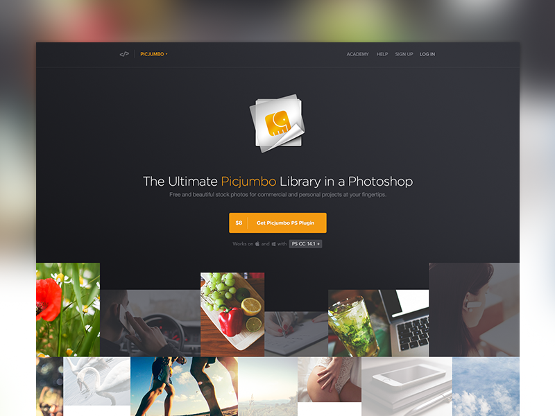 Picjumbo [Extension] photos free extension plugin landing page icon dark stock
