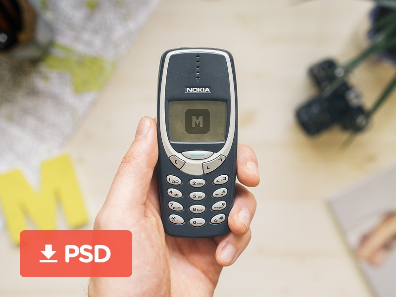 Nokia 3310 PSD Mockuuups nokia psd mockup template 3310 download april iphone freebie cellphone smartphone phone