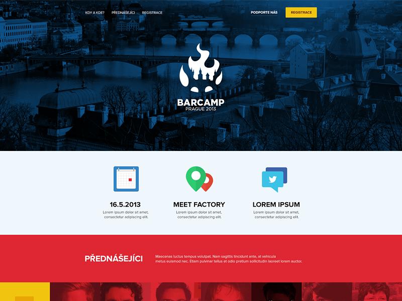 Prague Barcamp identity site barcamp conference flat website prague design