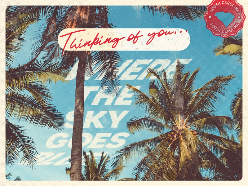 Thinking of you... tropical fade print travel mail stamp sky tree palm distress grunge type design illustration red blue postcard