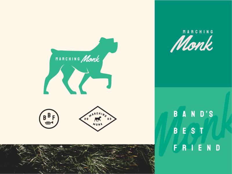Marching Monk Branding Refresh established concept dog logo identity cream monk boxer dog grass green band marching branding