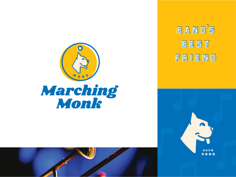 Marching Monk Brand Refresh trumpet dog tag tag leash monk marching boxer dog blue yellow wordmark branding identity logo complementary