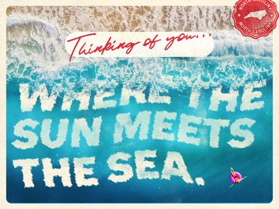 Thinking of you... sea foam sea foam distressed distress waves type vacation trip float carolina north carolina north stamp ocean blue cream postcard poster post card