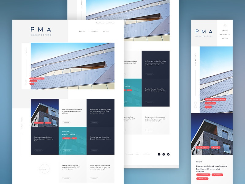 PMA Architecture nav header tags minimal modern responsive mobile architecture website web