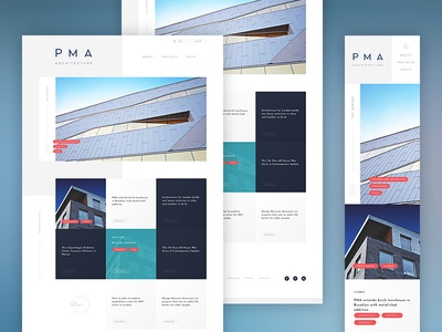 PMA Architecture nav header tags minimal modern responsive mobile architecture website web
