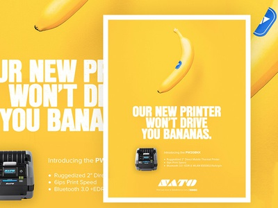 Sato Won't Drive You Bananas pun blue sales ad fruit printer yellow banana magazine print