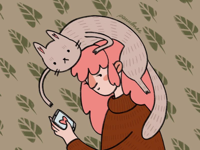 The cat lady press magazine illustrator illustration illustrated web illustration color combination character design artist
