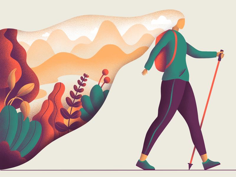 Nature walk colour flat ui graphic design sketch procreate illustration digital art design creativity character art