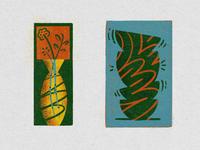 Fragile vases flowers vessel still life illustration digital illustration bright orange scribble texture colored pencil fragile ceramics
