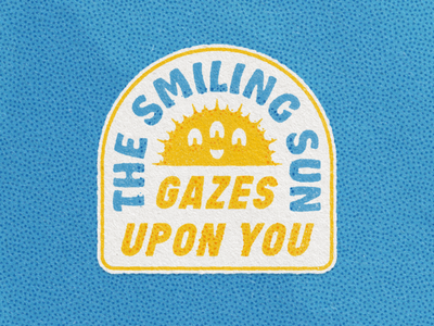 Smiling Sun Sticker true grit texture supply pointillism hobeaux character texture optimism sun patch sticker