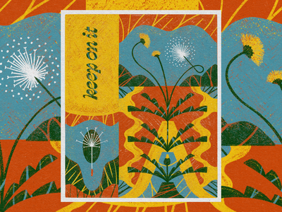 Keep On It sunny bright color scribble texture poster flower colored pencil illustration weeds flower power dandelion