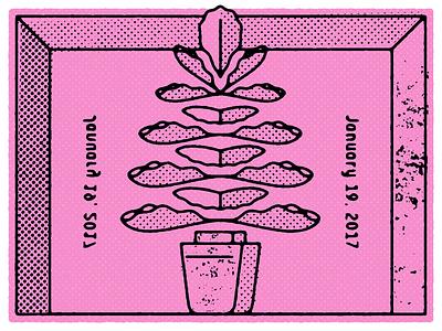 Plantillo plant halftone texture distress illustration