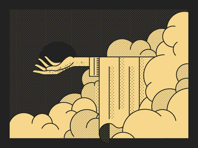 Zaidi Gig Poster cloud mystic hand dot polka halftone illustration digital
