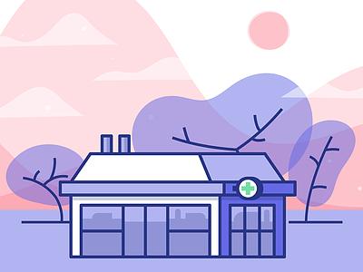 Little Shop on the Prarie waves overlay digital dispensary illustration