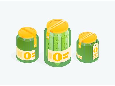 Uncle Jeff's Artisanal Pickles packaging artisanal marketplace pickles gradient digital illustration isometric