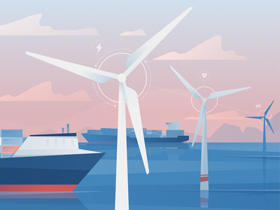 Offshore Wind gradient shipping wind turbine wind power wind sustainable energy illustration