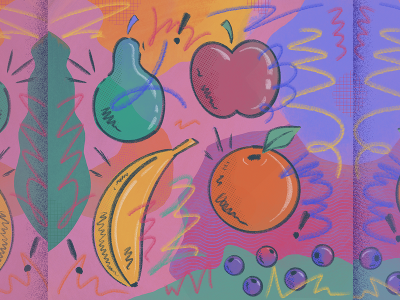 Flying Fruits blueberry orange apple pear banana procreate scribble flavor fruit digital texture illustration