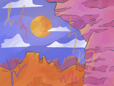 Scenic Scribbler cliffs desert plateau scribble cliff landscape procreate texture illustration
