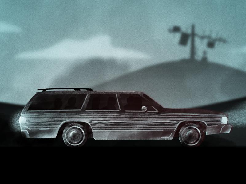 Stranger Style Study landscape hills vehicle car buick station wagon noise ham radio stranger things