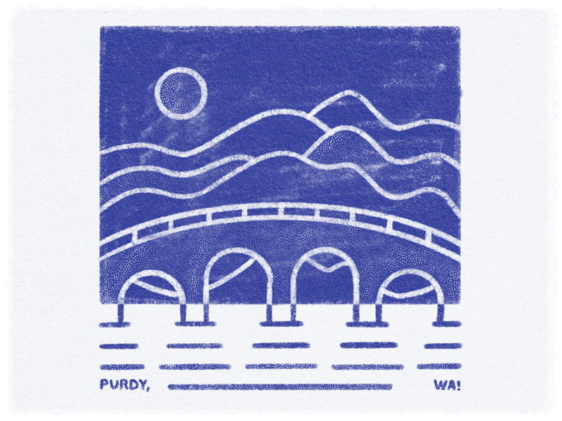Purdy Water halftone procreate texture washington state rolling hills landscape bridge puget sound