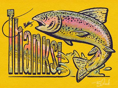 Thankful Fish rainbow procreate lettering typography fly fishing animal illustration thankyou trout fish