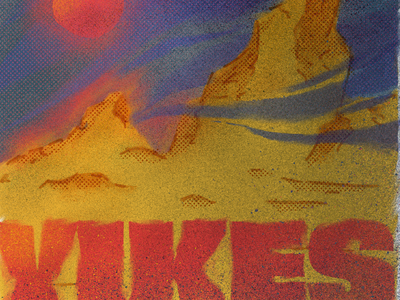 Free Lunch yikes red sun landscape grain procreate type climate change environment halftone illustration texture