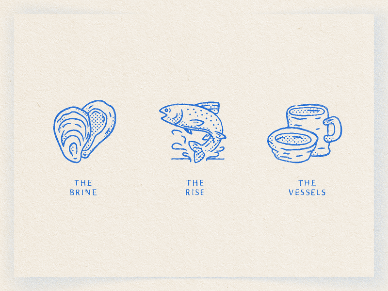 Wobble Sabi electric blue symbol seafood rise brine vessel pottery ceramics trout fish oyster illustration icon