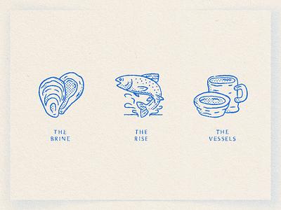 Wobble Sabi electric blue symbol seafood rise brine vessel pottery ceramics trout fish oyster illustration icon