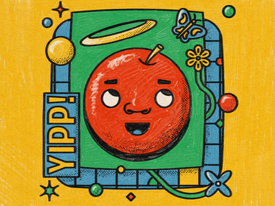 The Friends you Make Along the Way childish scribble crayon kindergarten primary angel butterfly grid texture anthropomorphic apple character