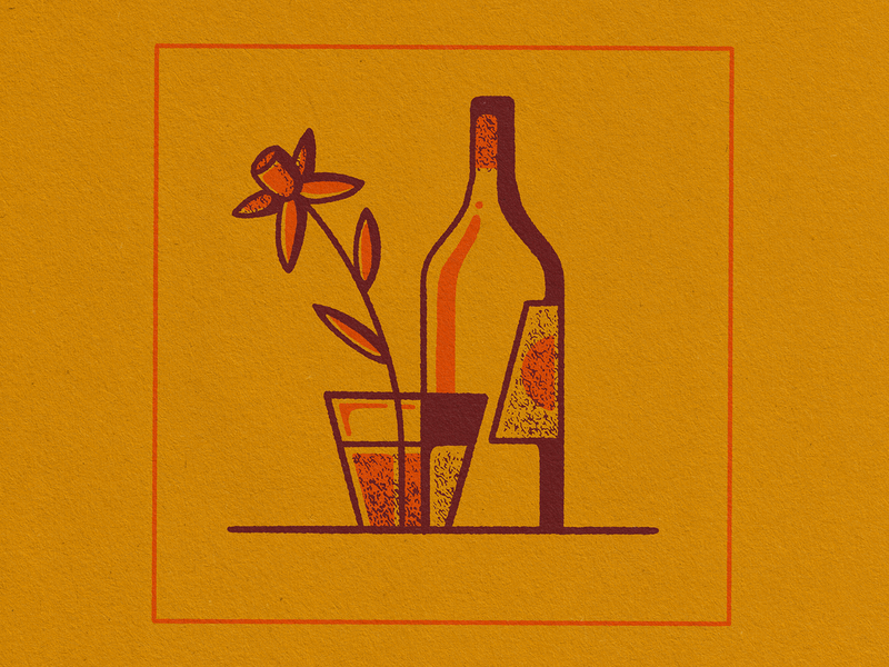 Fruit Can Taste Like Flowers retrosupplyco illustration lineart texture neon orange orange procreate glass wine bottle drink fruit flower wine