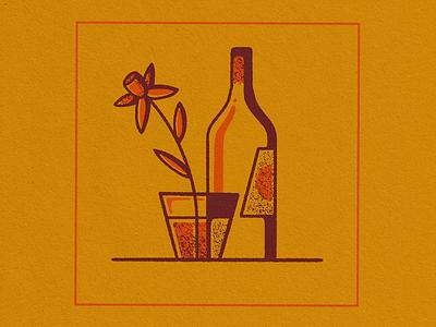Fruit Can Taste Like Flowers retrosupplyco illustration lineart texture neon orange orange procreate glass wine bottle drink fruit flower wine