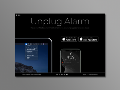 Unplug Alarm website ios design landing page landingpage website web macos app